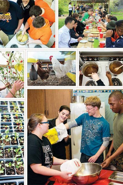 assortment of photos from food lit class where the kids grow plants and create healthy dishes